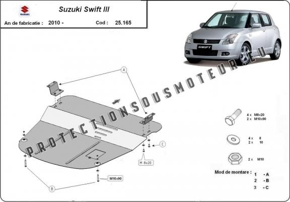 protection sous moteur et de la bo te de vitesse suzuki swift 3. Black Bedroom Furniture Sets. Home Design Ideas